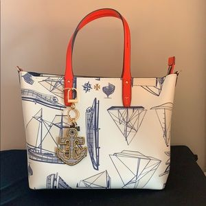 Tory Burch nautical purse with accessories